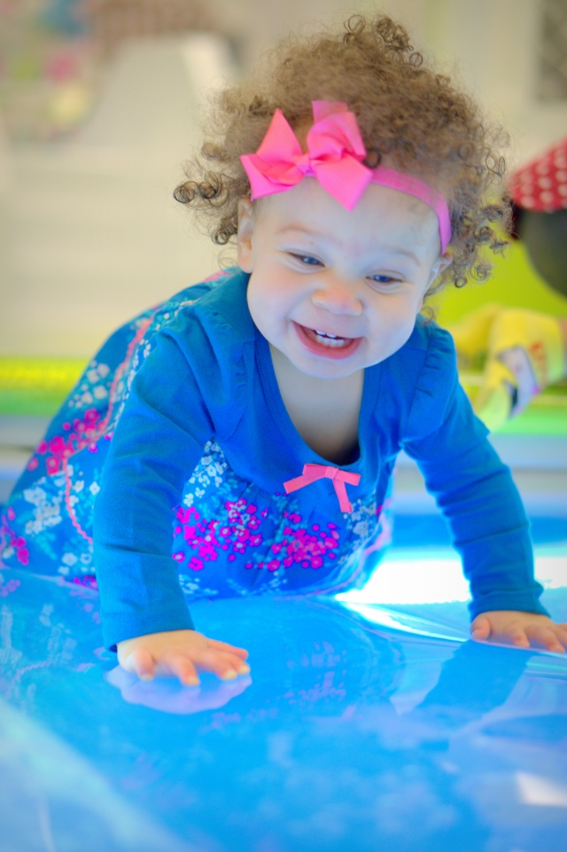 I got to play on a huge water filled table at Wiggleworks...I had so much fun!!