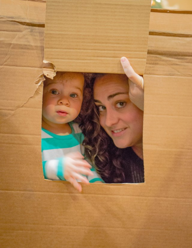 Having fun with Leslie in my cardboard box turned indoor play-house!!
