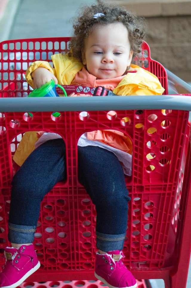 I guess after half an hour of throwing everything she could reach in Target into the cart she finally wore herself out.  Sheeesh.