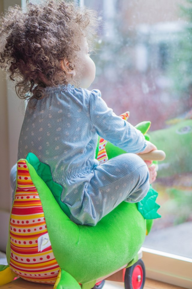 She must have sat here for 10 minutes looking out back...I'd like to think of it as toddler meditation.  She looked so calm and peaceful.