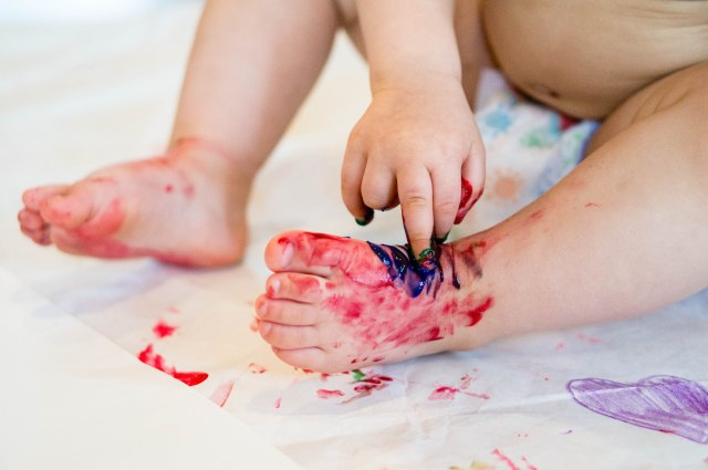For some reason she loves painting her feet!  No other body parts...just her feet.