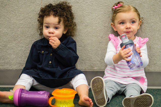Chillin', Toddler Time at the community center is a lot of work!