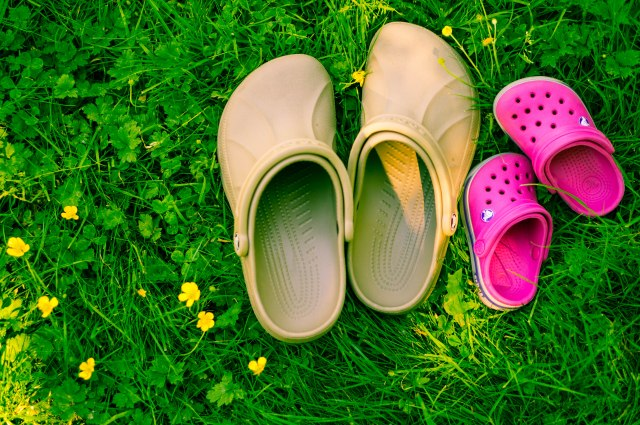 Mommy and baby-girl Crocs.  First thing she wants us to do in the grass...take off our shoes.