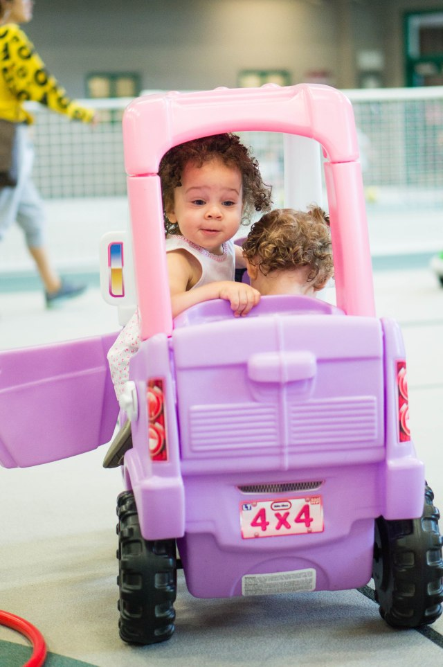 This cracked us up!  PJ just had to squeeze into that tiny car with Georgia...Georgia was not to pleased!  =)