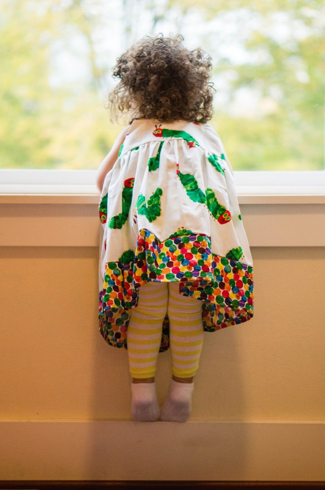 Caterpillar dress!  Birthday girl was peeking out the window, waiting for her friends to show up.