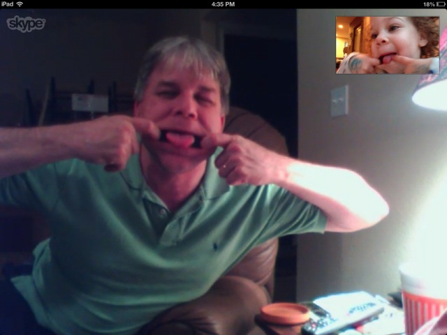 4:30pm... Skype with Nana and Papa.  Silly faces!