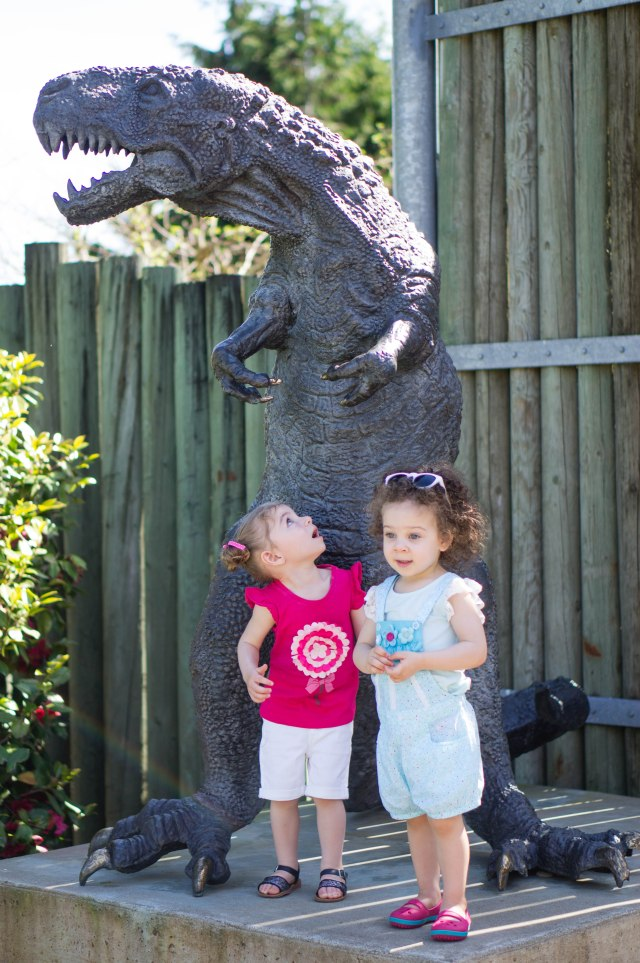 Took a very long time to get her to stand in front of the dinosaur, not only is she scared of real animals, but also fake ones.