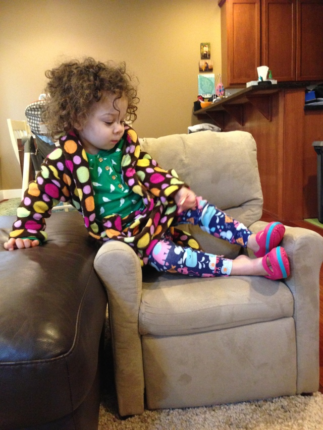 ...Never wants to take of her Croc sandals, robe all the time, traded jeans for pajama pants.  Stylin!