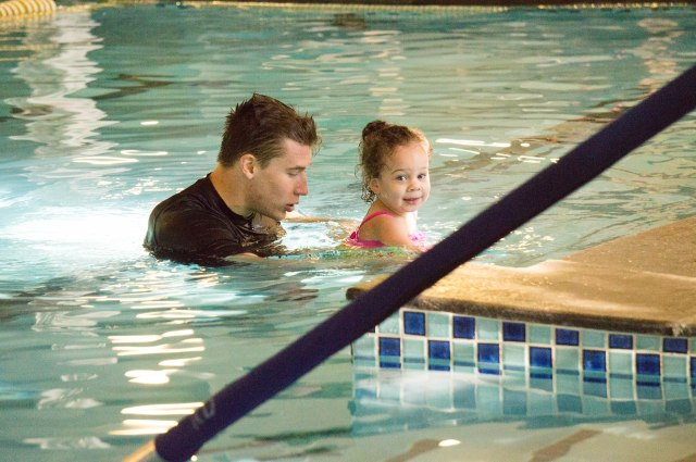 We started swim lessons and she LOVES them!  She loves Teacher Clark.