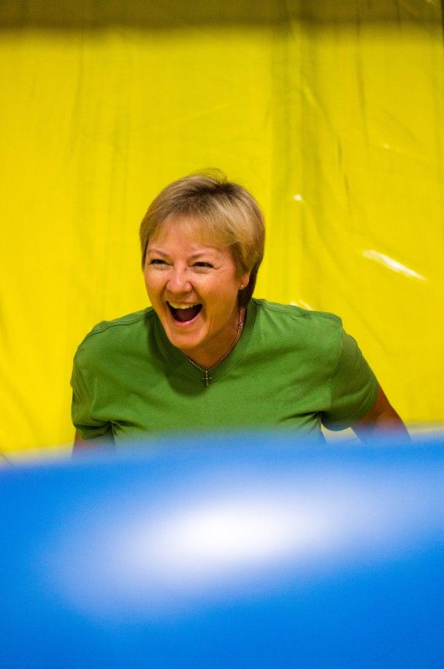 Nana having fun in the bouncy house!